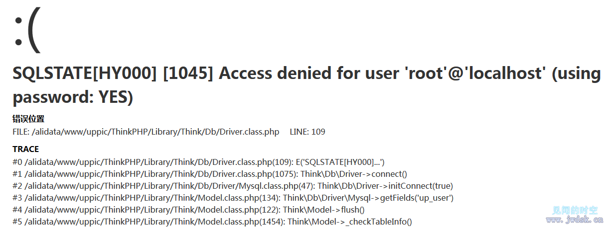TP3.2出现:SQLSTATE[HY000] [1045] Access denied for user 'root'@'localhost' (using password: YES)
